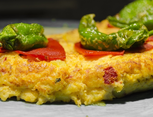 Spanish Tortilla with Roasted Red Peppers and Chorizo