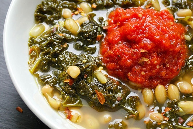 spicy greens and beans