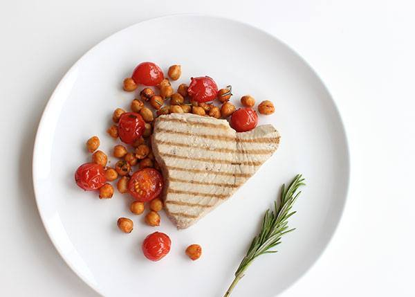 Grilled Tuna with Spicy Chickpeas, Tomato and Rosemary